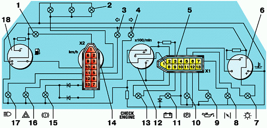 Схема панели ваз 2121