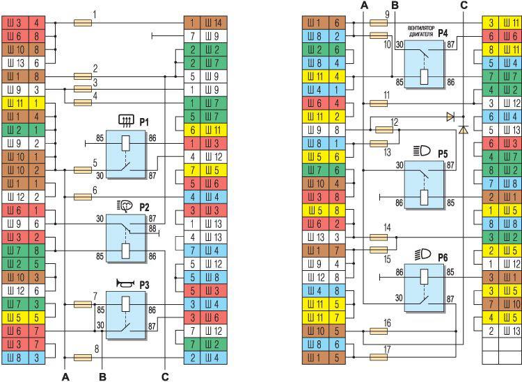 схема соединений в блоке