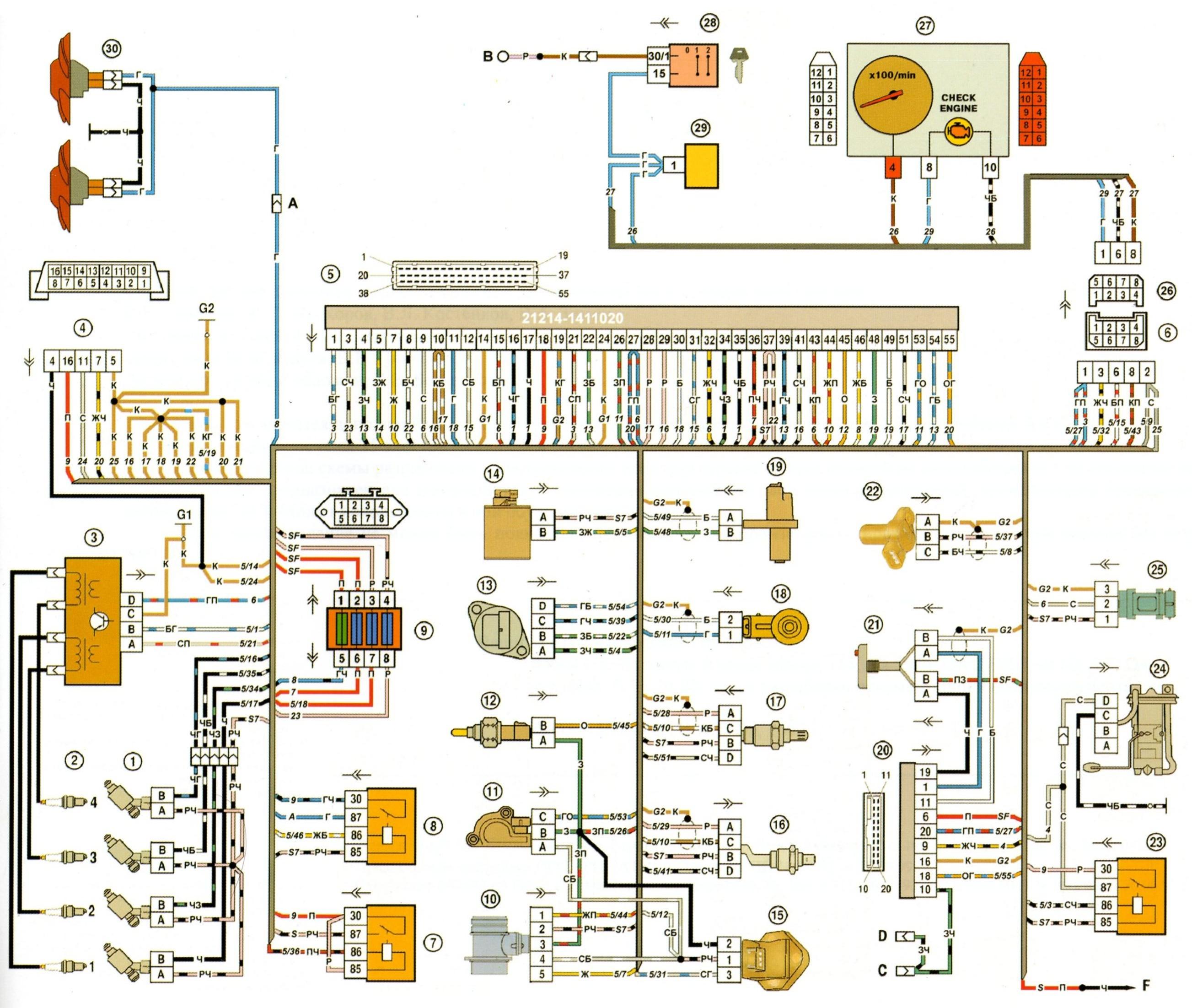 ваз 2110 электрическая схема дд к эбу