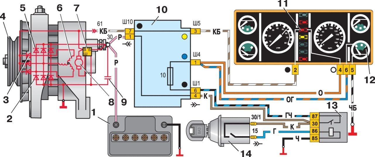 Схема генератора 21074