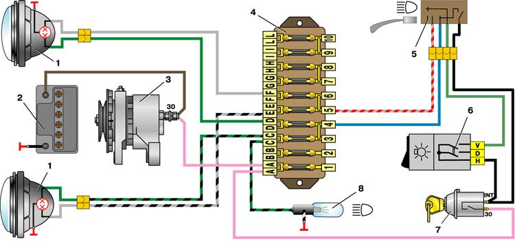 Схема проводки ваз 2101 габаритов