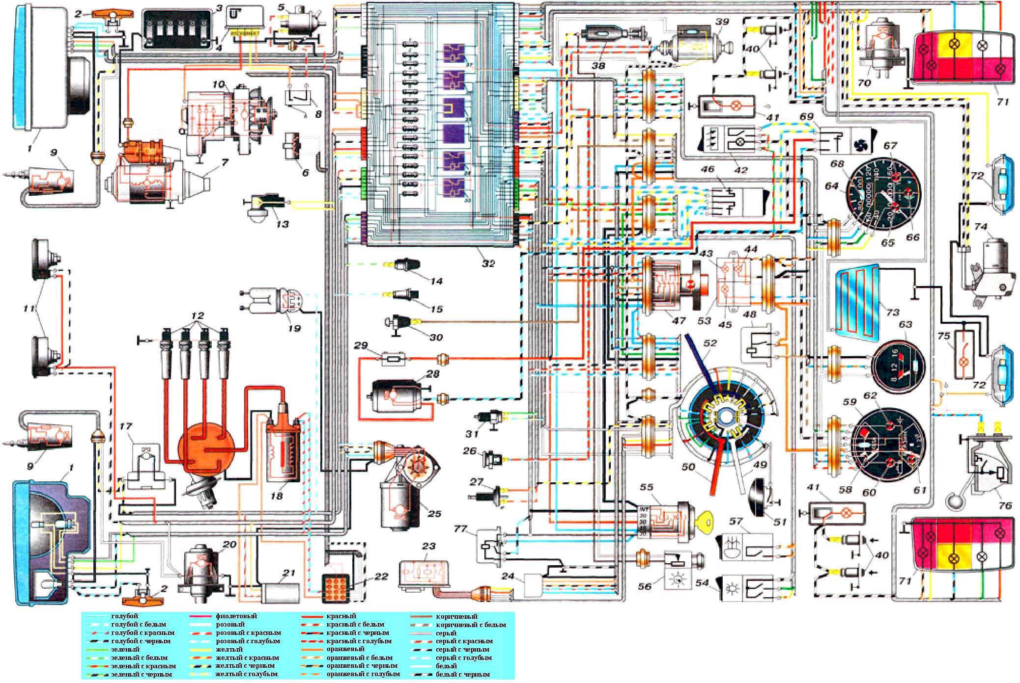 переключатель габаритов и фар калина схема подключения
