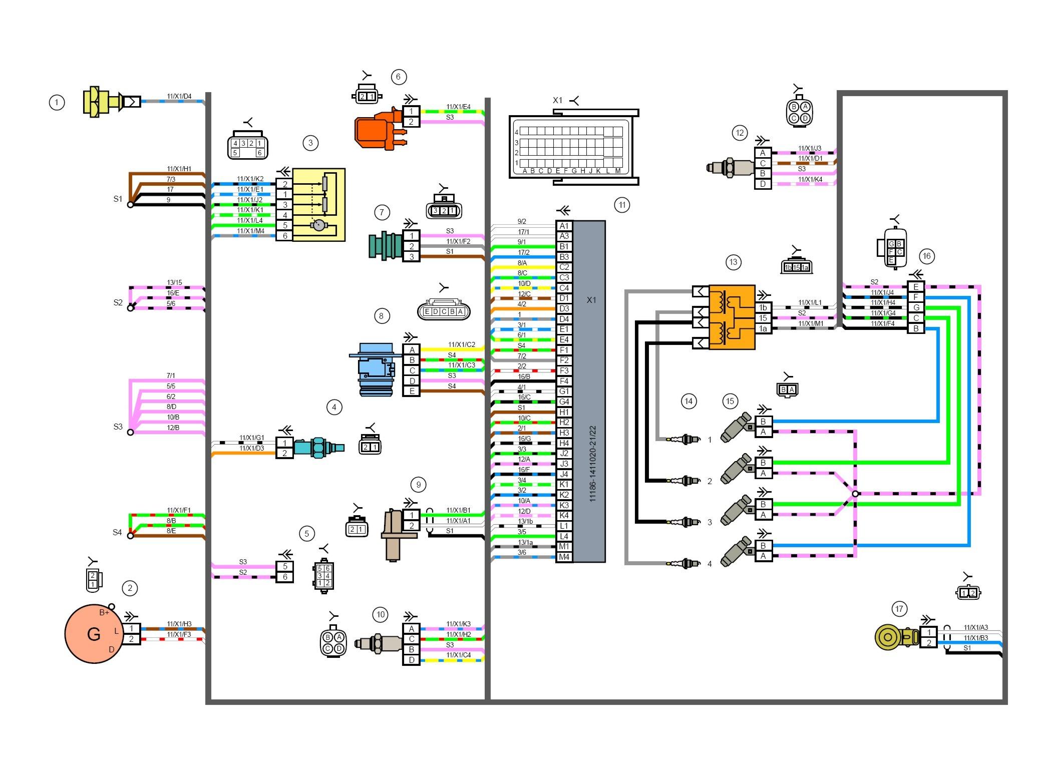 схема подключения контактного зажигания ваз 2104