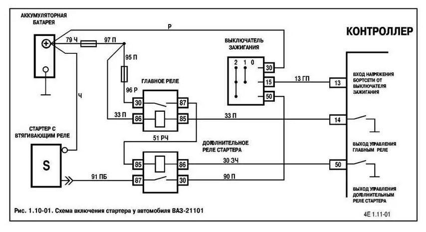 По схеме на ВАЗ-2110 имеем