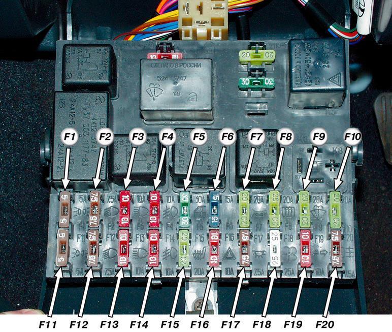 Схема блока предохранителей ваз 2110 инжектор фото 689