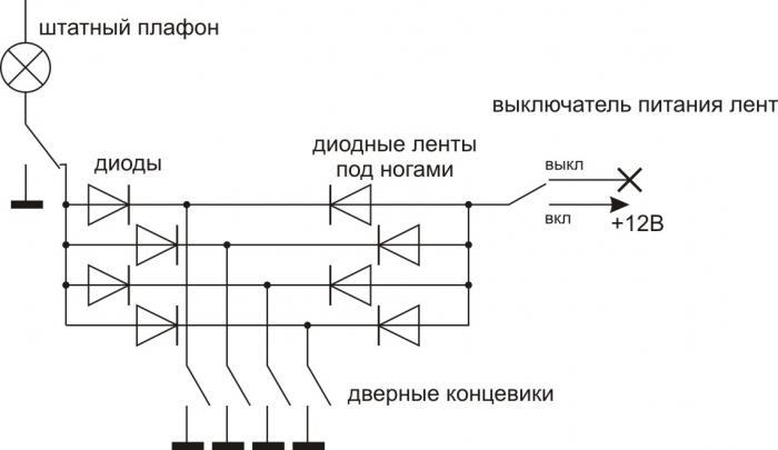 Схема подключения диодов на концевиках