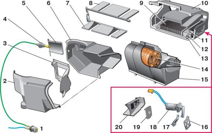 Схема отопления ваз 2110