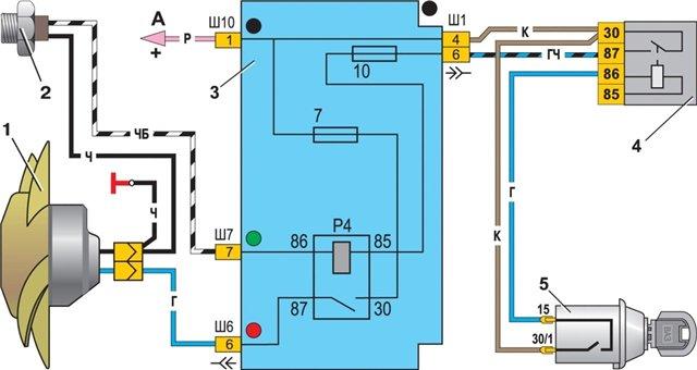 Схема включения вентилятора ваз 2110