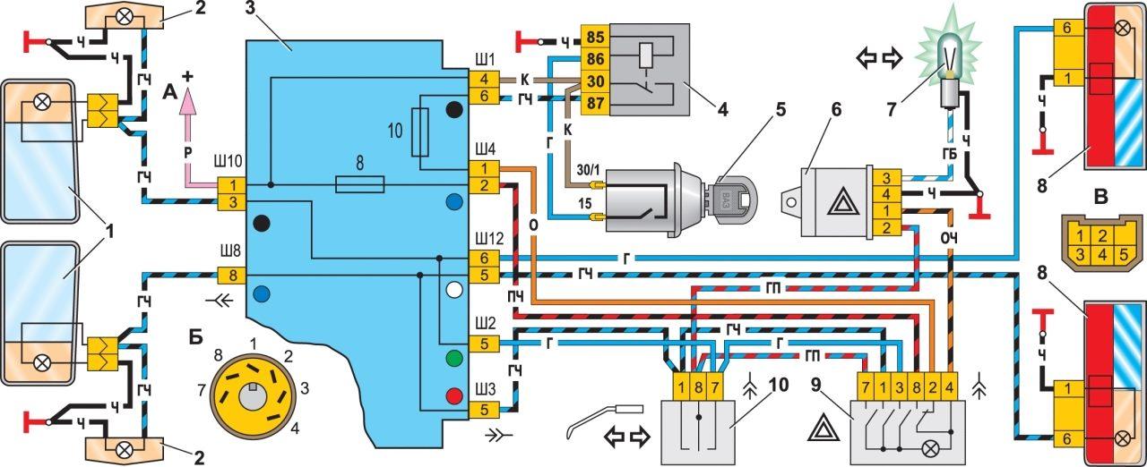 Уаз реле поворотов схема
